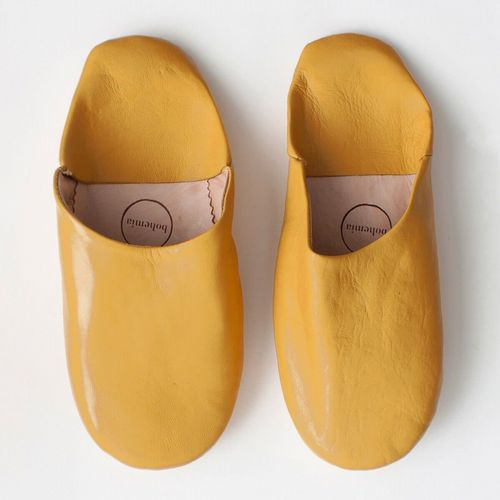 Women's Slippers - Leather Mules - Mustard